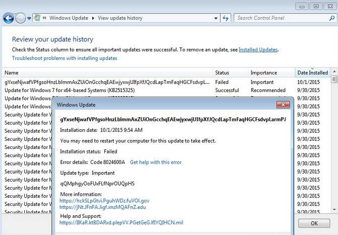Bild: Das rätselhafte Windows 7-Update (Screenshot)