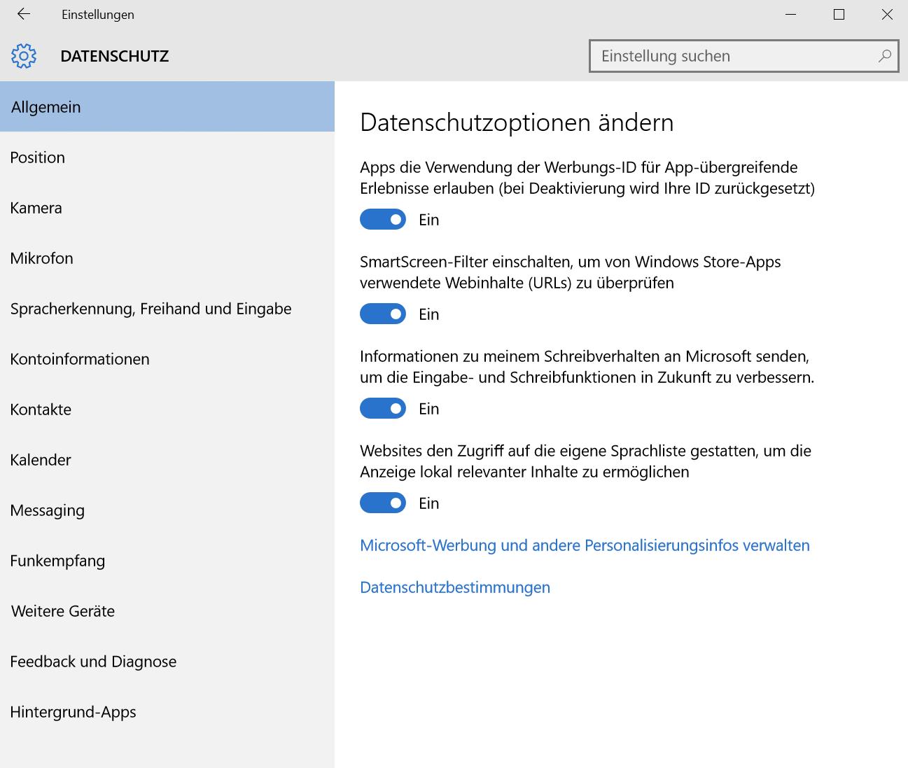 Bild: Windows 10 Datenschutz-Einstellungen (Screenshot)