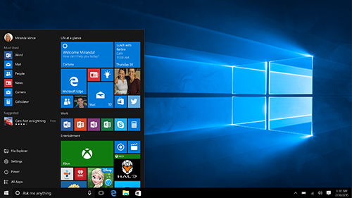 Bild: Windows 10 Startmenü | Quelle: Newsroom Microsoft Deutschland