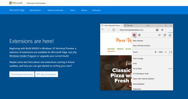 Bild: Edge-Website mit Ankündigung zu Erweiterungen (Screenshot)