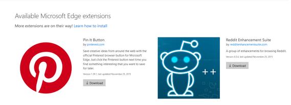 Bild: Erweiterungen für Microsoft Edge (Screenshot)