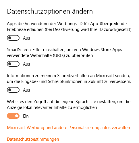 Datenschutzoptionen unter Windows 10 | Bild: Screenshot 2ndsoft.de