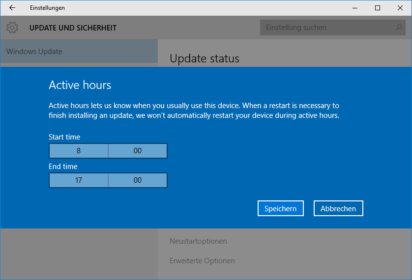 Bild: Windows Insider Active Hours (Screenshot)