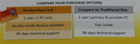 """Bild: An der Verpackungsrückseite ist erkennbar, dass das Layout nicht dem Original entspricht ( Die Position von """"No disc inside; Backup available"""" ist geringfügig höher als beim Original)."""