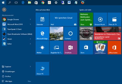 Bild: Screenshot des aktuellen Startmenüs unter Windows 10. Bald wird mehr Werbung zu sehen sein.