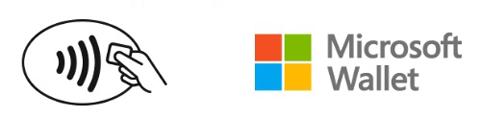 Bild: Geschäfte, in denen mit Microsoft Wallet bezahlt werden kann, sind mit diesen Logos gekennzeichnet. | Quelle: Microsoft