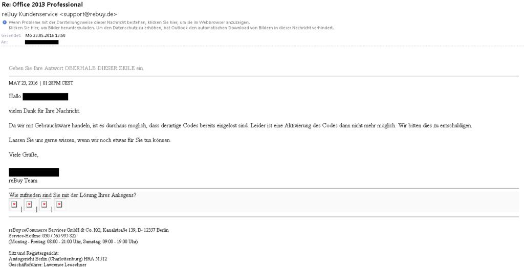Bild: E-Mail von reBuy – Wie bitte? Keine Besonderheit, dass Gebrauchtsoftware nicht aktivierbar ist?