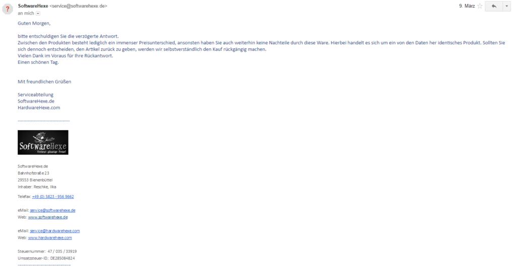 Bild: Das Antwortschreiben von softwarehexe.de