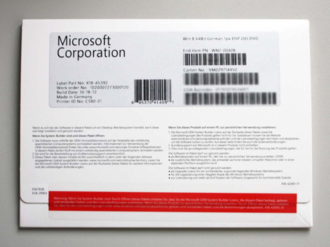 Bild: Windows 8 64-Bit OEM