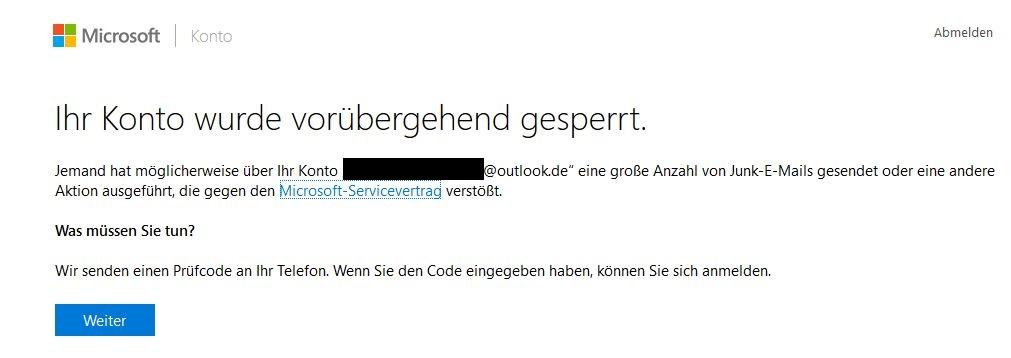 Bild 1: Der Microsoft-Account wurde vorübergehend gesperrt – warum genau, ist nicht erkennbar.