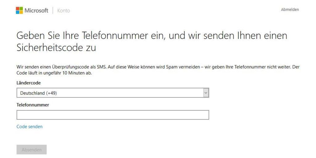 Bild 2: Microsoft fordert den Account-Besitzer zur Eingabe der Telefonnummer auf.