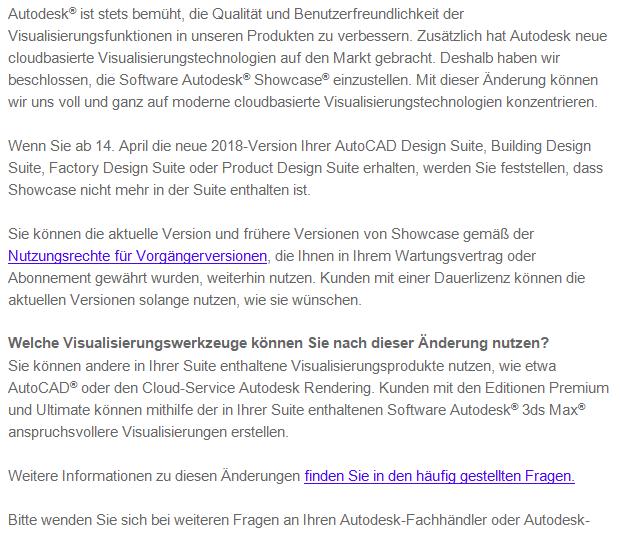 Bild: In dieser Autodesk-Mail erfahren NutzerInnen, dass Autodesk Showcase eingestellt wird