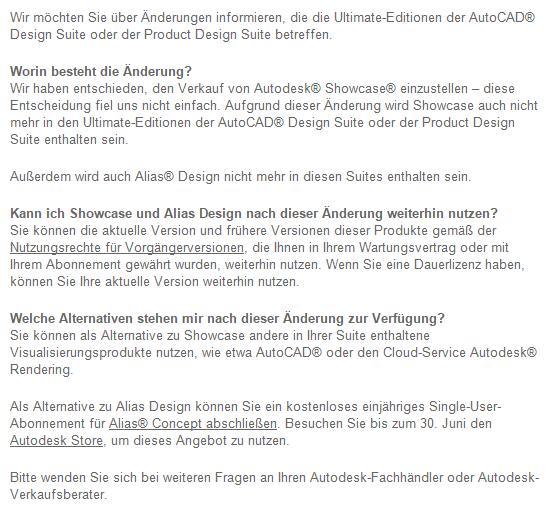 Bild: Autodesk informiert in dieser E-Mail Kunden über die Zukunft von Autodesk Alias Design