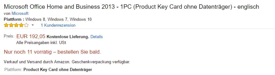 Bild: Microsoft Office Home and Business 2013 (englisch/PKC) - diesen Artikel kauften wir und erhielten eine Fälschung direkt von Amazon.de