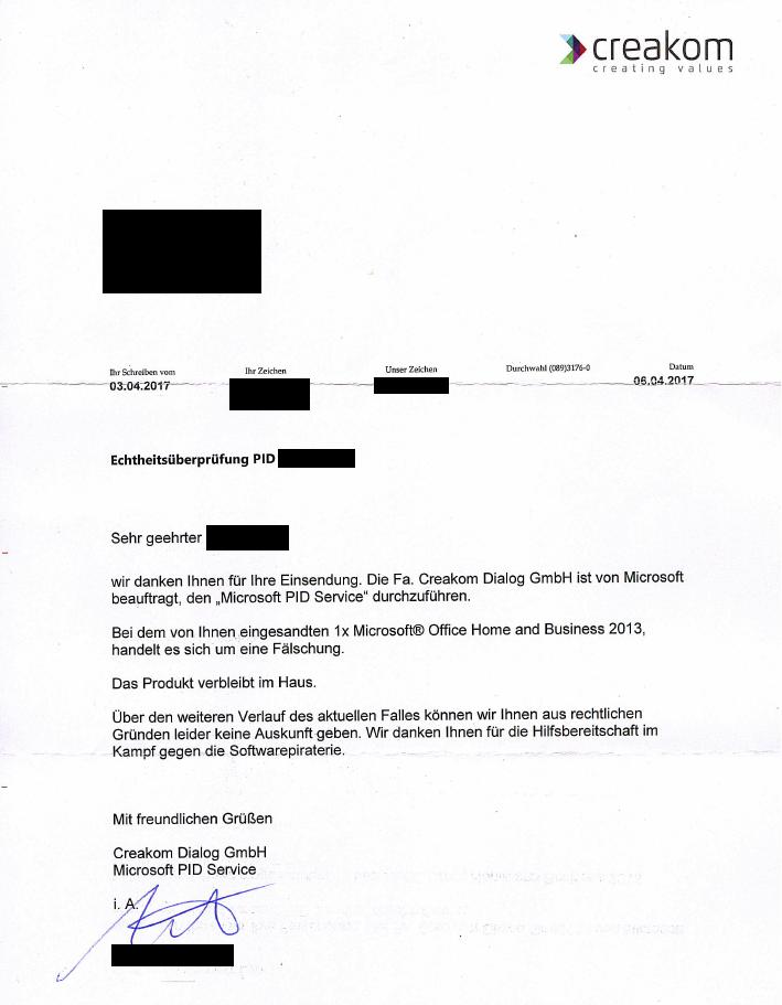 Bild: Das Schreiben der Fa. Creakom Dialog GmbH an uns bestätigt, dass es sich um eine Fälschung handelt.