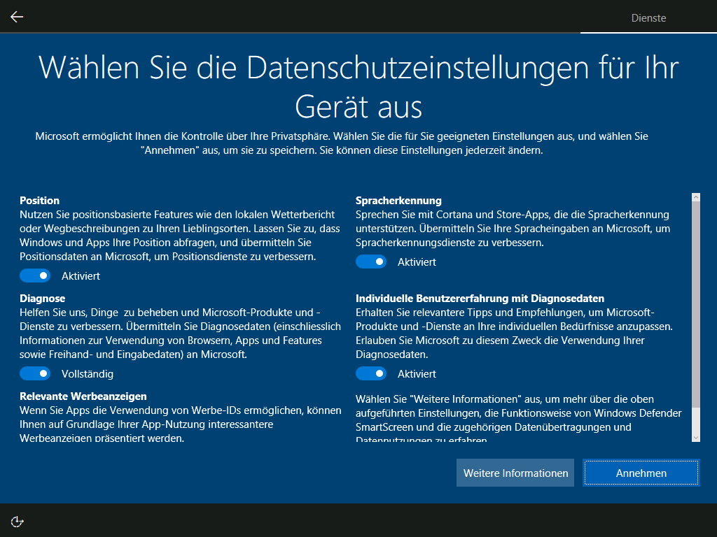Foto: Die neuen Datenschutzeinstellungen werden bei einer Neuinstallation von Windows 10 angezeigt – sie enthalten deutlich mehr Informationen über die Auswirkungen der getätigten Einstellungen | © Microsoft
