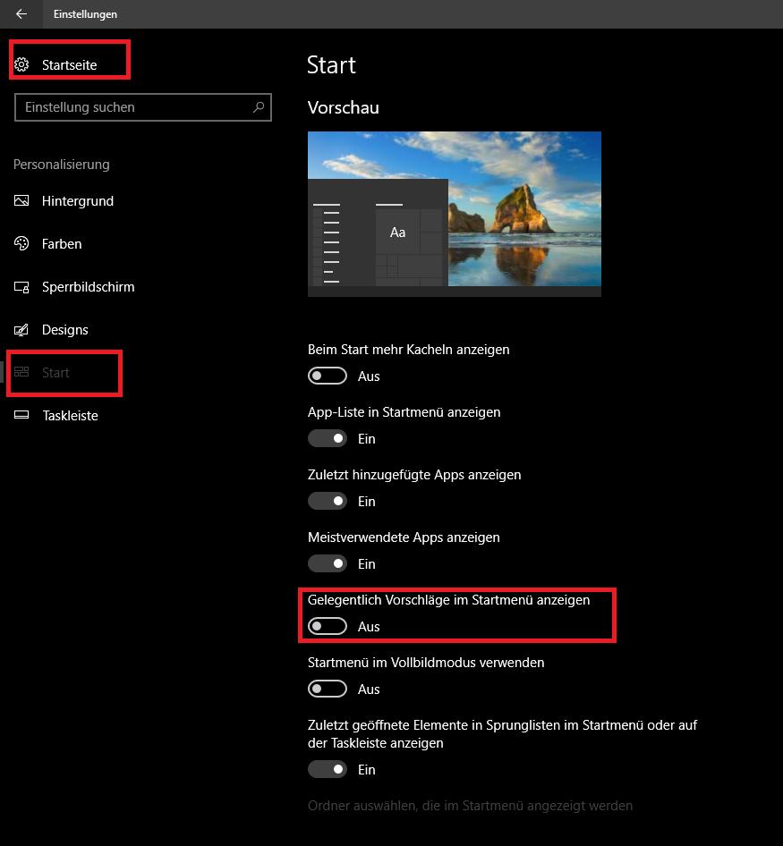 Screenshot: So entfernen Sie die Werbung im Startmenü von Windows 10. | © gebrauchtesoftware.de