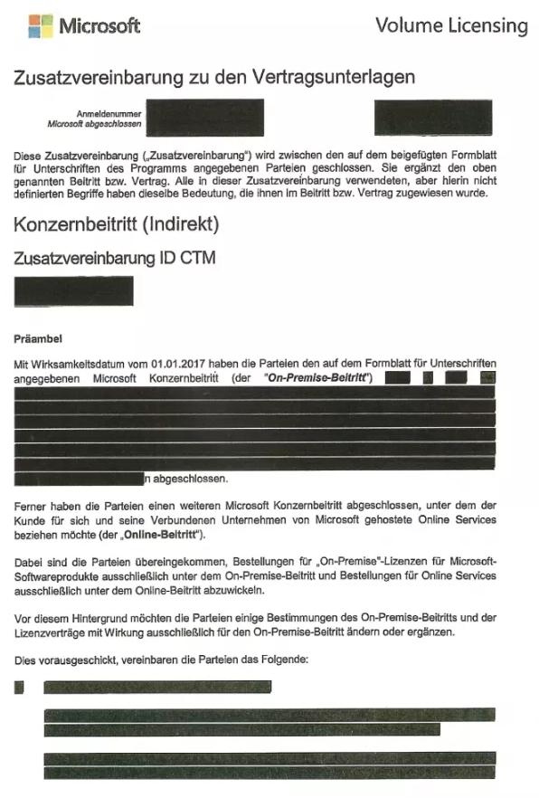 Foto: Zusatzvereinbarung zu den Vertragsunterlagen – Dokument, das nach Informationsfreiheitsantrag seitens der c't publiziert wurde