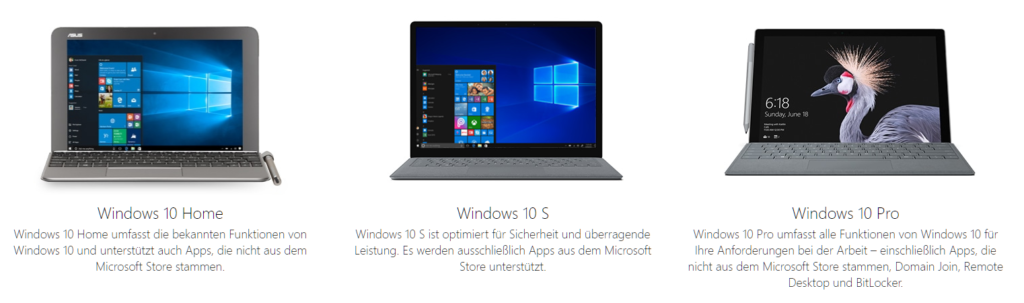 Foto: Versionsvergleich Windows 10 Home, Windows 10 S und Windows 10 Pro | © Microsoft
