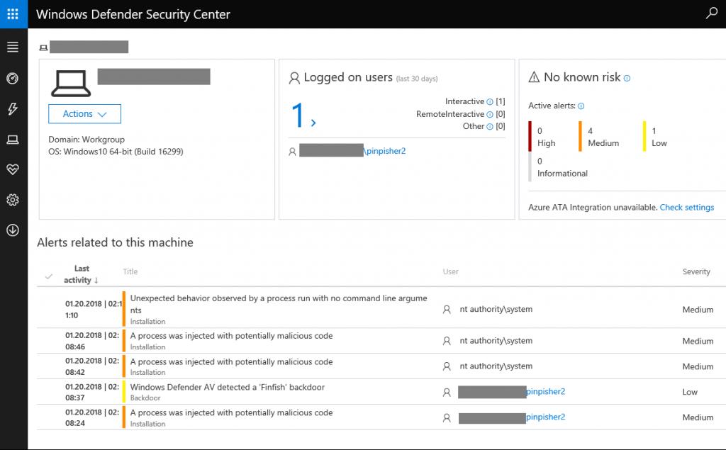 Foto: Windows Defender ATP erkennt Staatstrojaner FinFisher | © Microsoft