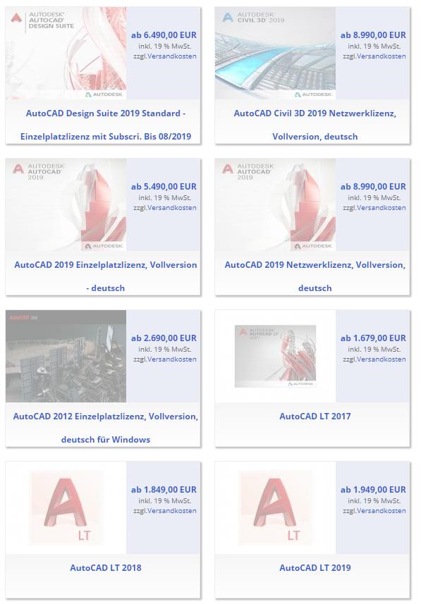 CAD Software Autodesk AutoCAD 2018 AutoCAD 2019 AutoCAD LT Dauerlizenz Kaufversion kaufen Gebrauchtsoftware gebrauchte Software