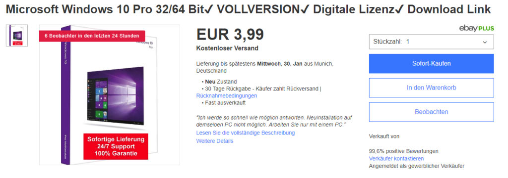 eBay Software Betrug Windows 10 Pro Professional 32/64 Bit Anzeigee Annonce Verkauf Angebot Lizenz Key Produktschlüssel