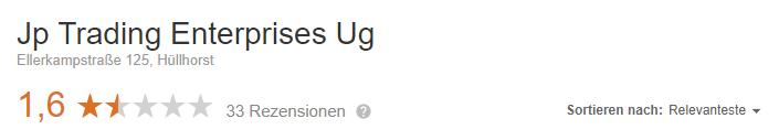 JP Trading Enterprises UG Bewertungen Rezensionen Erfahrungsberichte Google seriös