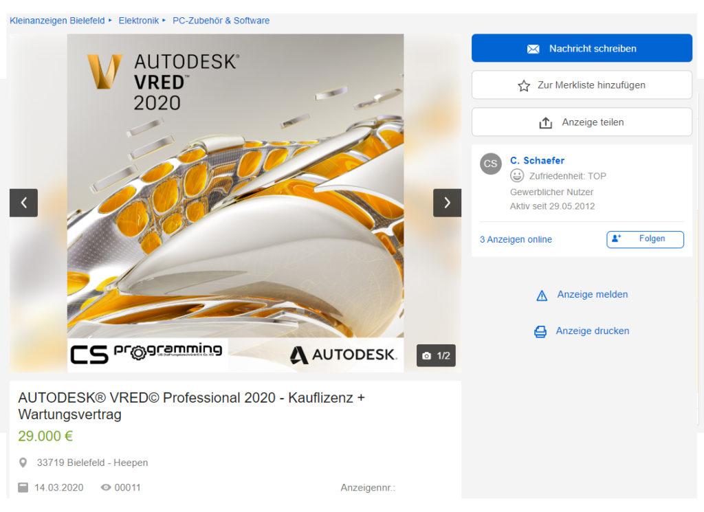 Autodesk Inventor 2020 Professional VRED REVIT 2020 eBay Kleinanzeigen Lizenz Lizenzrecht Lizenzierung