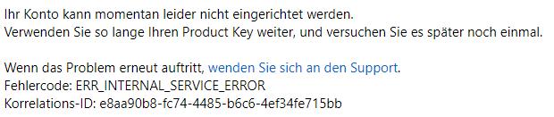 Foto 4: Beim Versuch, einen Code einzulösen, kann es zu einer Fehlermeldung kommen. Man solle bitte den Support kontaktieren, heißt es. | Screenshot: Gebrauchtesoftware.de