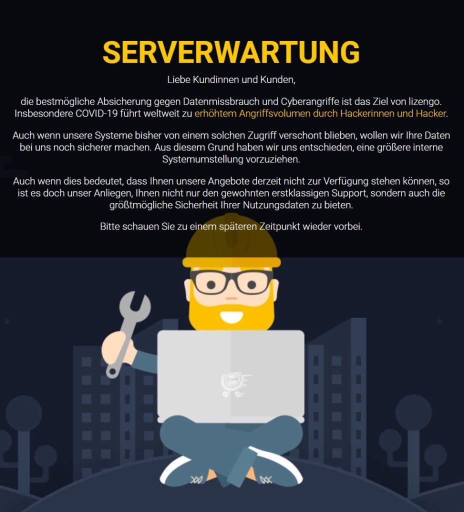 Foto: Seit Ende Oktober 2020 ist die Internetpräsenz von Lizengo nicht mehr erreichbar. Offiziell heißt es hier: Serverwartung. | Quelle: Screenshot